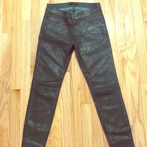 J.Brand Maria Dark Green Coated Skinny Jeans sz 27